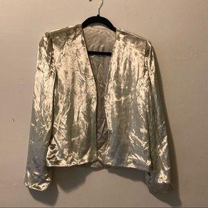 Vintage Silver Velvet Cropped Jacket